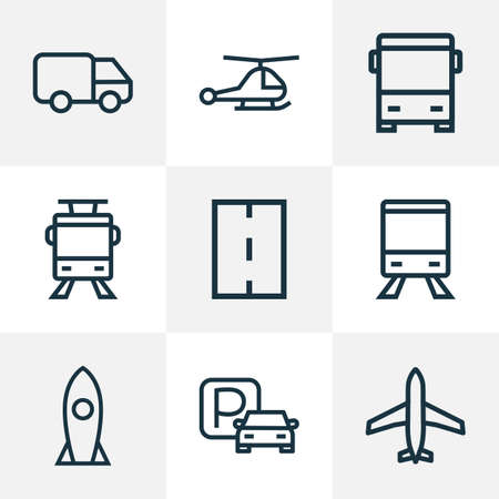 Transport icons line style set with trolley, plane, caravan and other aircraft