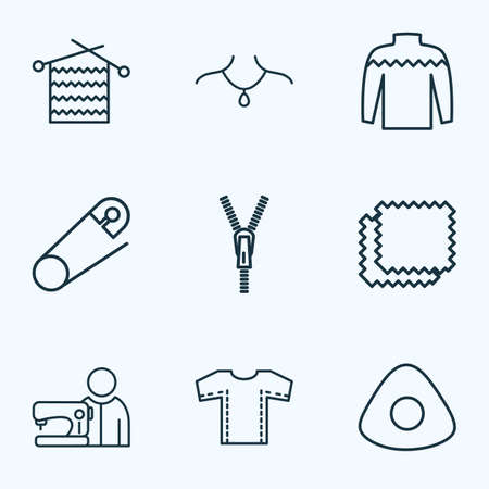 Fashionable icons line style set with chalk, safety pin, knitwear and other secure elements. Isolated  illustration fashionable icons. Archivio Fotografico