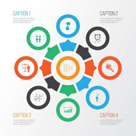 Zestaw ikon administracyjnych z prezentacją projektu, terminami projektu, zespołową burzą mózgów i innymi elementami konwersacji. Ikony administracji ilustracja na białym tle wektor.