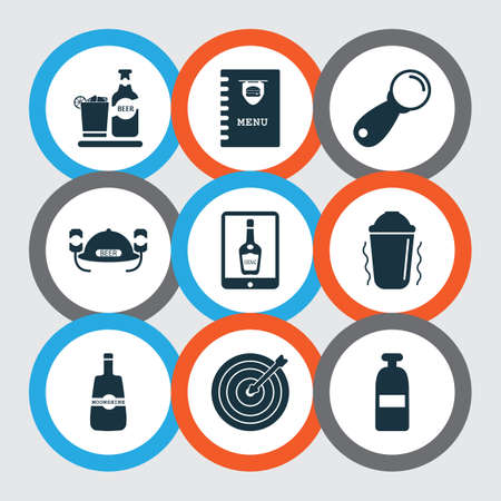 Beverages icons set with bottle of rum, beverage, tablet and other restaurant   elements. Isolated vector illustration beverages icons.