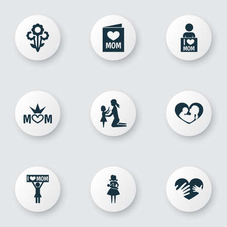 Mothers day icon design concept. Set of 9 such elements as queen, loving and baby. Beautiful symbols for mother, love and mom.