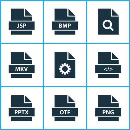 Typensymbole mit Verzeichnis-, Software-, Such- und anderen Skriptelementen. Isolierte Vektor-Illustrationstypen Symbole.