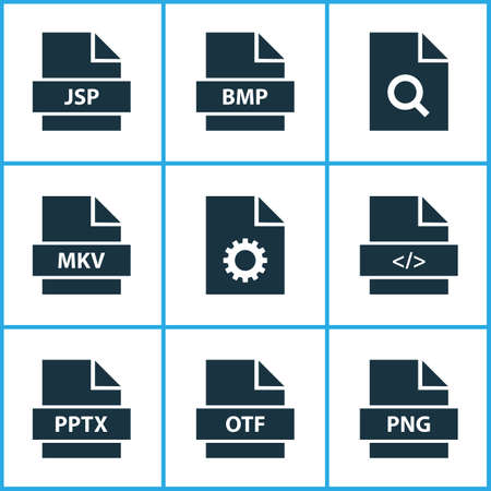 Types icons set with directory, software, search and other script elements. Isolated vector illustration types icons.