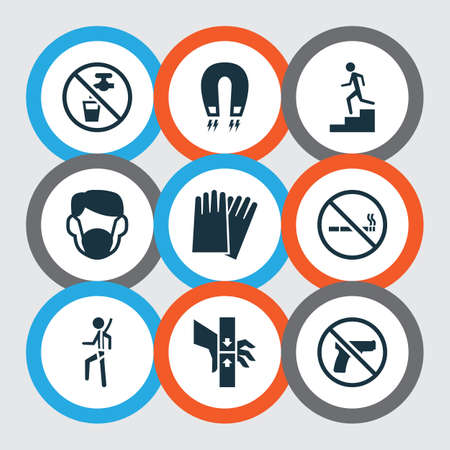 Sign icons set with dust mask, no smoking, danger moving part and other cigarette forbidden elements. Isolated vector illustration sign icons.