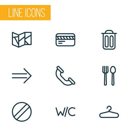 Navigation icons line style set with restaurant, map, hanger and other trash bin  elements. Isolated  illustration navigation icons.