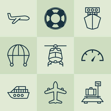 Vehicle icons set with helicopter, yacht, parachute and other jet  elements. Isolated  illustration vehicle icons.