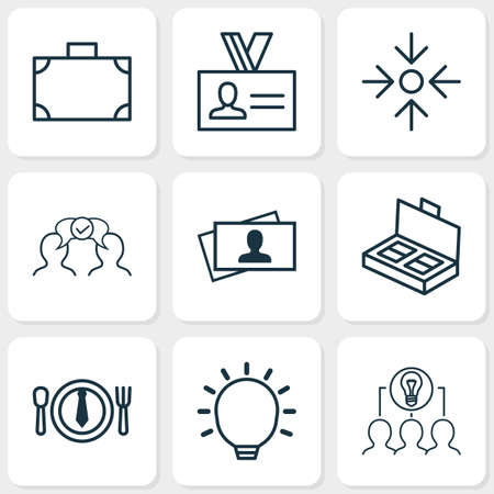 Corporate icons set with big idea, project target, collaboration and other collaborative solution   elements. Isolated vector illustration corporate icons.