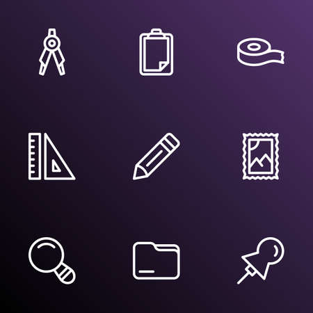Stationary icons line style set with ruler, drawing compass, scotch and other adhesive