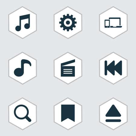Icone multimediali impostate con precedenti, applauso di film, gadget e altri elementi principali. Icone multimediali illustrazione isolata. Archivio Fotografico - 106830579