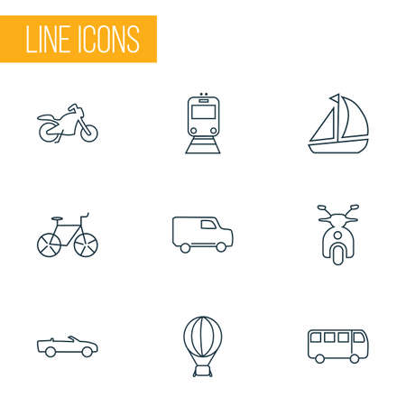 Vehicle icons line style set with cabriolet, bus, ship and other bike   elements. Isolated vector illustration vehicle icons.