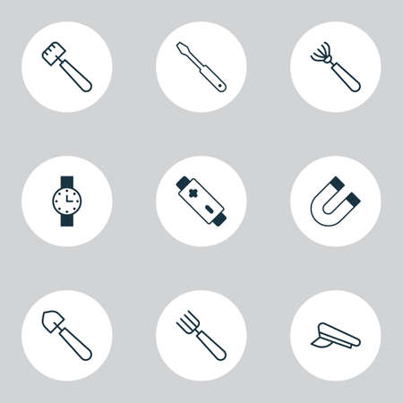 Apparatus icons set with battery, screwdriver, shovel and other attraction  elements. Isolated vector illustration apparatus icons. Çizim