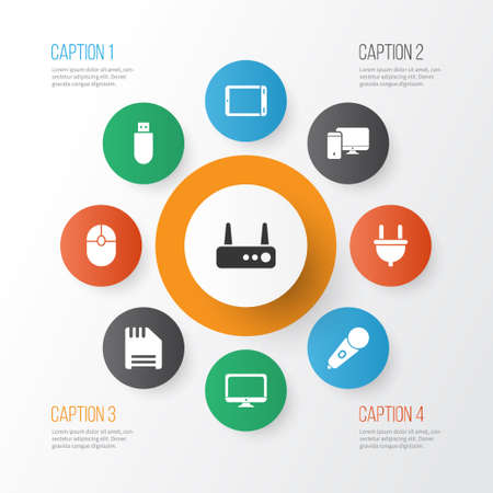 Technology icons set with computer, flash drive, router and other usb drive elements. Isolated vector illustration technology icons.