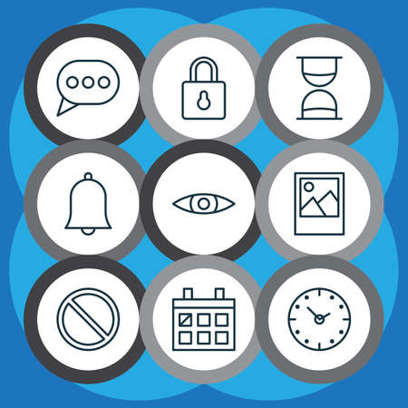 Network icons set with alarm, eyes, clock and other time   elements. Isolated vector illustration network icons.