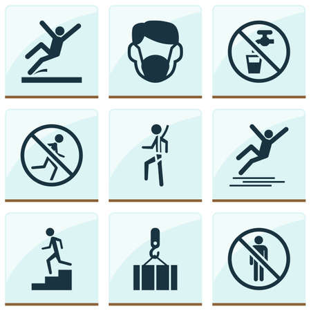 Sign icons set with not running, stop, staircase and other lifting