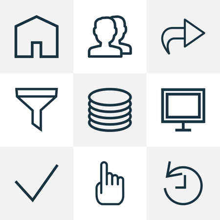 Interface icons line style set with forward, home, done and other display elements. Isolated vector illustration interface icons. Vector Illustration