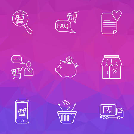 Commerce icons line style set with search shop, shop faq, delivery truck and other information  elements. Isolated vector illustration commerce icons.