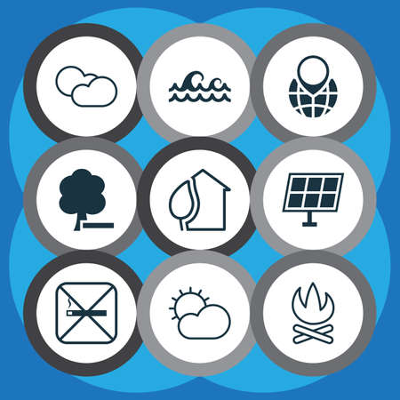 Ecology icons set with cloudy weather, water stream, globe pointer and other delete woods