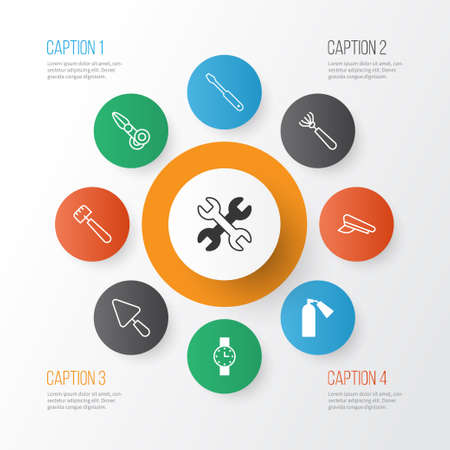 Tools icons set with watch, extinguisher, screwdriver and other timer  elements. Isolated vector illustration tools icons.