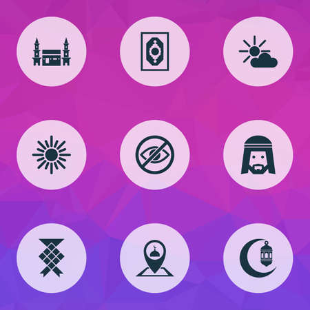 Religion icons set with crescent, muslim, mushaf and other midday   elements. Isolated vector illustration religion icons. Ilustração