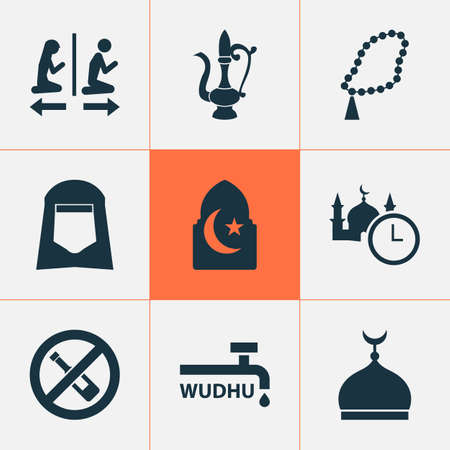 Holiday icons set with no alcohol, islam, minaret and other oriental jug  elements. Isolated vector illustration holiday icons.