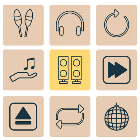 Music icons set with headphone, refresh, drum sticks and other headset elements. Isolated vector illustration music icons.
