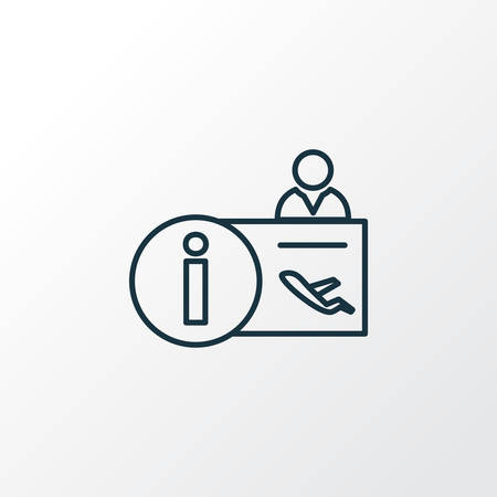 Symbol linii ikona recepcji lotniska. Element na białym tle recepcjonista jakości premium w modnym stylu. Ilustracje wektorowe