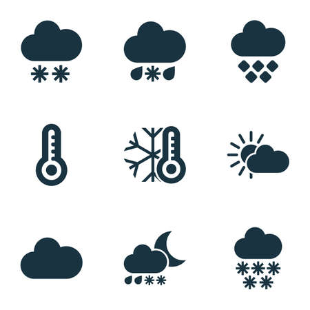 Weather icons set with heavy sleet night, winter, snowfall and other temperature 