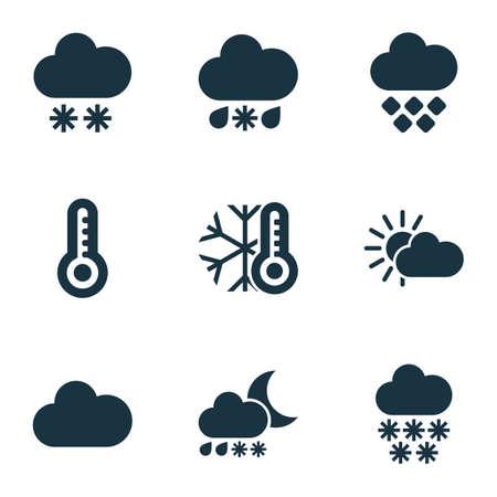 Weerpictogrammen instellen met zware natte sneeuw, winter, sneeuwval en andere temperatuurelementen. Geïsoleerde vector illustratie weerpictogrammen.