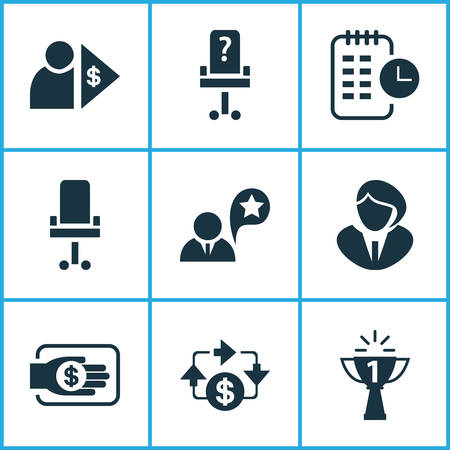 Work icons set with job performance, long-term plan, financing and other manager   elements. Isolated vector illustration work icons. Illustration