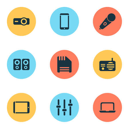 Electronics icons set with radio, mic, floppy disk and other fm elements. Isolated vector illustration electronics icons.