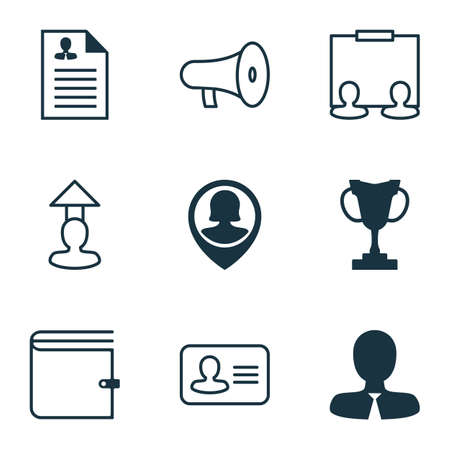 Resources icons set with administrator, speaker, project and other bullhorn elements. Isolated vector illustration resources icons.