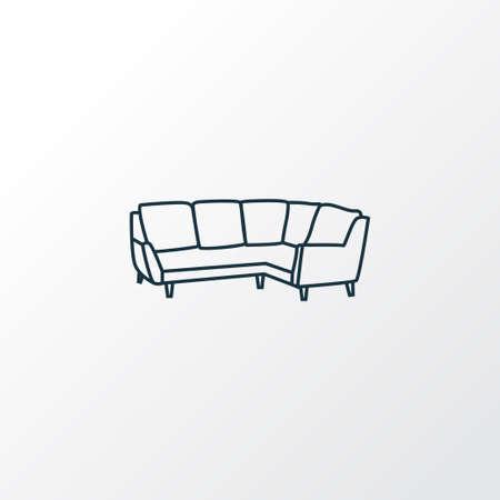Corner sofa icon line symbol. Premium quality isolated settee element in trendy style. Ilustracje wektorowe
