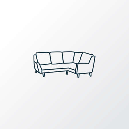 Symbole de ligne d'icône de canapé d'angle. Élément de canapé isolé de qualité premium dans un style branché. Vecteurs