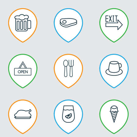 Restaurant icons set with beef, tea, exit sign and other coffee cup   elements. Isolated vector illustration restaurant icons.
