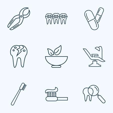Emaille Icons Line Style Set mit Zahnpasta, Zahnbürste, Zahnarzt und anderen Mörtelelementen. Isolierte Vektor-Illustration Emaille-Symbole.