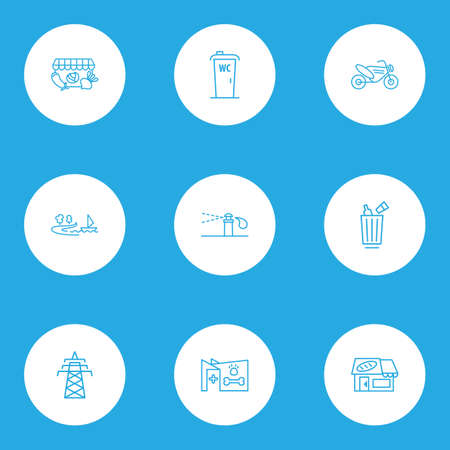Urban icons line style set with motor bike, veterinary, bakery and other garbage container  elements. Isolated vector illustration urban icons. Ilustração