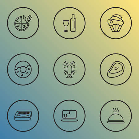 Meal icons line style set with sardine, cupcake, donut and other meat   elements. Isolated vector illustration meal icons.