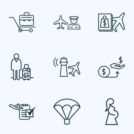 Airport icons line style set with man with travel bag, briefcase, parachute and other organizer elements. Isolated vector illustration airport icons. Vetores