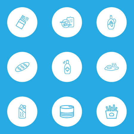 Food icons line style set with chocolate, loaf, french fries and other cacao