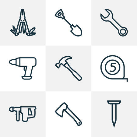 Repair icons line style set with hatchet, shovel, nail and other tool