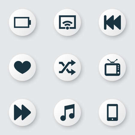 Music icons set with wifi, smartphone, fast forward and other television   elements. Isolated vector illustration music icons.