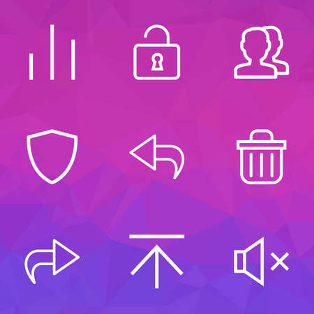 User icons line style set with open, return, column and other mute