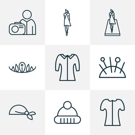 Icons line style set with model, photograph, mid sleeve and other photographer  elements. Isolated vector illustration  icons. Illustration