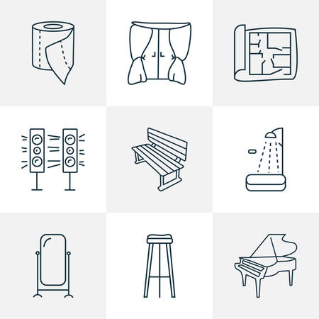 Furniture icons line style set with house plan, shower, bench and other pianoforte