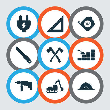 Industry icons set with straightedge, drill, sawmill and other triangle ruler