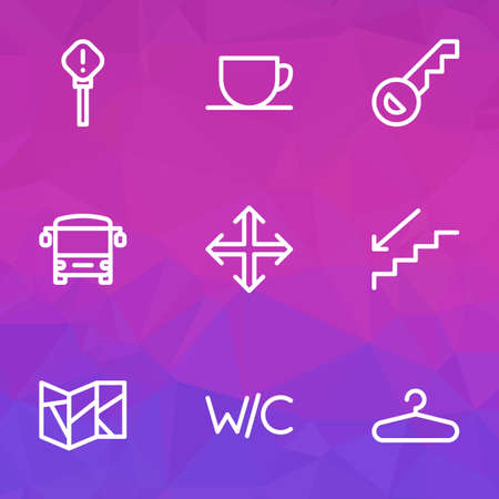 Public icons line style set with hanger, navigation, key and other navigation  elements. Isolated vector illustration public icons.