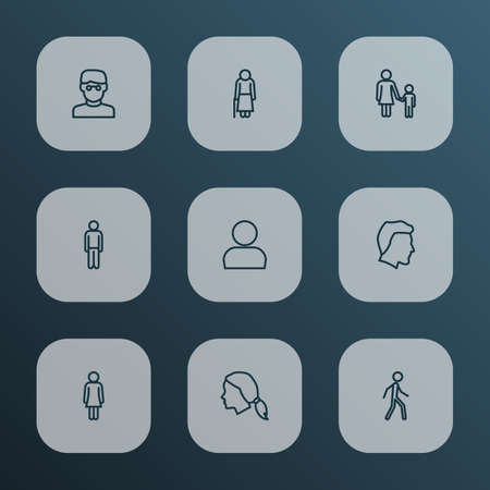 Person icons line style set with old, female, walking and other jogging elements. Isolated vector illustration person icons.