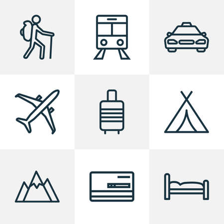 Exploration icons line style set with cab, airplane, bed and other bedstead