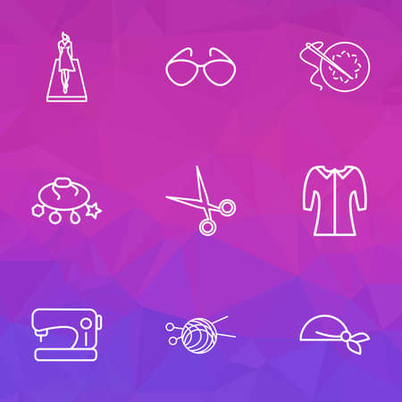 Icons line style set with sewing machine, embroideries, runway and other handicraft   elements. Isolated vector illustration  icons. Illustration