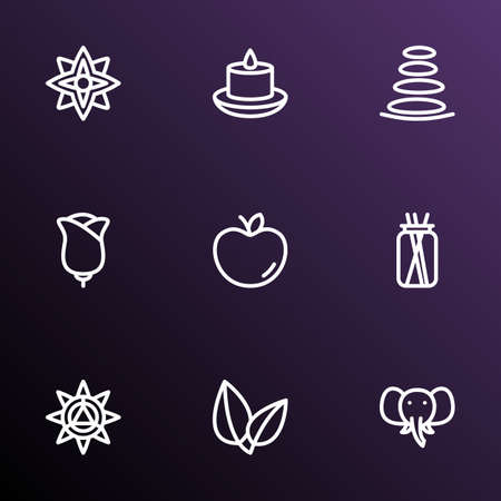 Yoga icons line style set with candles, apple, mandala design ornament